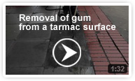 Removal of gum from a tarmac surface